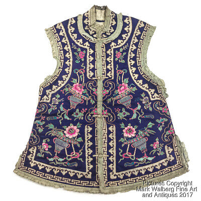 Chinese Embroidered Blue Silk Textile / Woman's Vest with Flowers, Early 20th C.