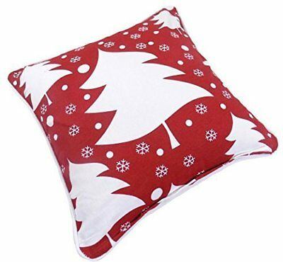 "FILLED CHRISTMAS TREES SNOWFLAKES 100/% COTTON RED WHITE CUSHION 17/"" 43CM C18"