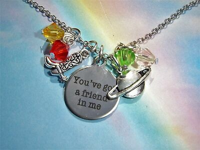 """You've got a friend in me"" QUOTE CHARMS NECKLACE TOY STORY INSPIRED WOODY"