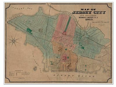 Map of New Jersey City & environs, Hudson County, NJ circa 1879 by Welcke 24x32