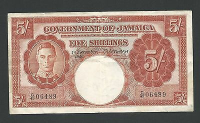 1940 Jamaica 5 Shillings, Strong Paper VF, P-37a, KGVI Issue 100% Original