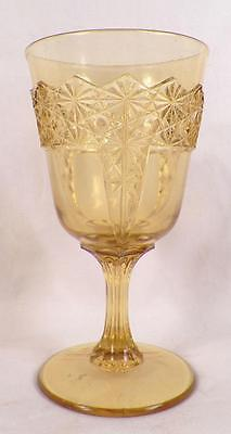 Queen Water Goblet Amber McKee Early American Pattern Glass Antique 1885