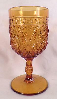 Daisy & Button with Crossbars Goblet Amber Early American Pattern Glass Antique