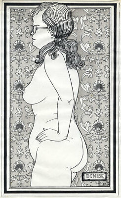 """D.S. - 1976 Pen and Ink Drawing, Nude Study, """"Denise"""""""