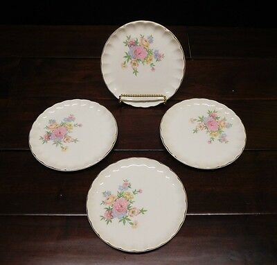 "W.S. George Bolero Pink Floral  4 small plates 6 1/2  "" gold edging, fluted"