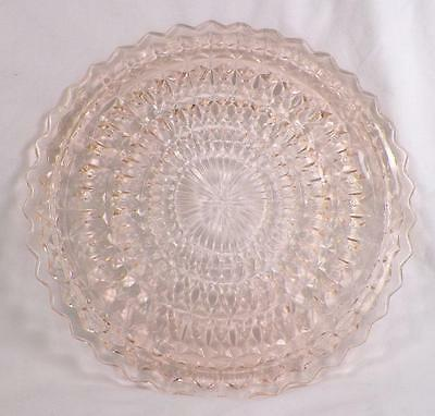 Windsor Diamond Cake Plate Pink Depression Glass Jeannette Vintage As Is