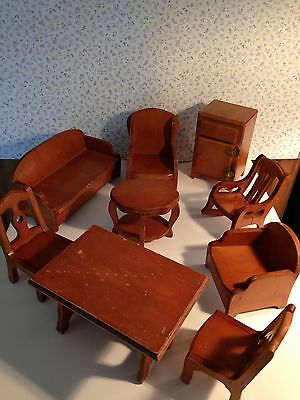 VINTAGE WOOD DOLL HOUSE FURNITURE LOT ROCKING CHAIR DOLLHOUSE WANNER  1930s