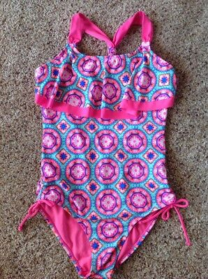 Girls Justice 14 One Piece Swim Suit Pink Medallions Ruffle Front Top Swimsuit