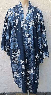 Vintage Japanese blue floral print cotton kimono robe yukata sz XL Made in Japan