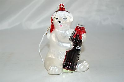 Coca Cola Coke 2002 Christmas Ornament Glass Polar Bear, Santa Hat, Bottle
