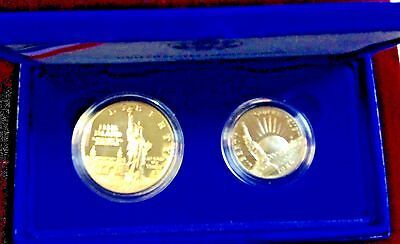 1986 2-Coin Statue Of Liberty Silver Proof Liberty Coins In Original Box!~