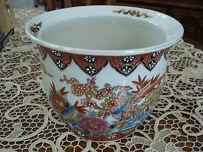 Porcelain Chinese/japanese Oriental Planter Rich Colours,jewelling,stamp