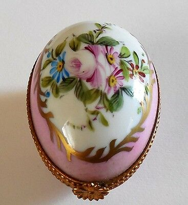 Antique Genuine French Limoges Hand Painted Hinged Vanity Box Signed