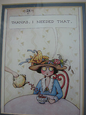 """Vintage 1984 Mary Engelbreit Print """"Thanks I Needed That"""" Double Matted"""