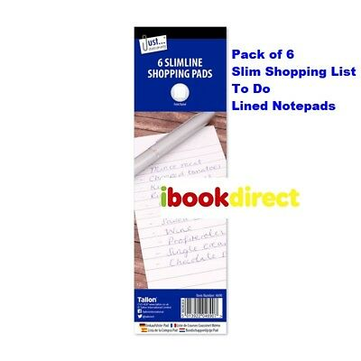 6 x Pack Slimline Lined Shopping Pads To Do Lists Note Book - WH3 - 907 - NEW