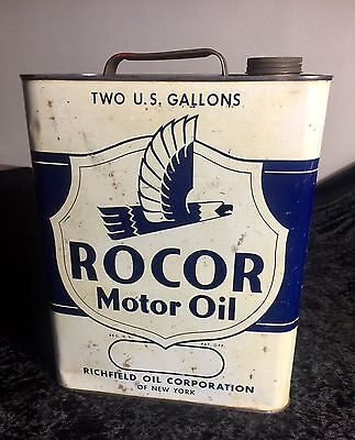 Vintage Richfield ROCOR Motor Oil Can,Tin Sign,Gas Pump,Gas Station
