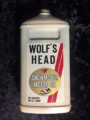 Vintage Wolfs Head 2 cycle Snowmobile Oil,1970's,NOS Bottle,Gas Station