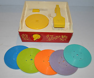 FISHER PRICE Music Box Record Player 995 Switzerland 1971 w/ 5 records