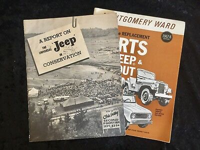 Vintage Jeep Willys Overland Implement Book,Montgomery Ward Parts Catalog,Rare