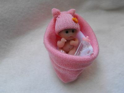 OOAK artist miniature 4  cm  polymer  clay  peach baby doll  1/12th by HARRY