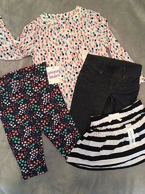 NWT Lot of Toddler Baby Girls  2Pants, 1 Top, 1 Skirt - 3T
