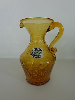 """Vintage KANAWHA Hand Crafted Glassware Amber Crackle Glass Mini Pitcher 4 1/2"""""""