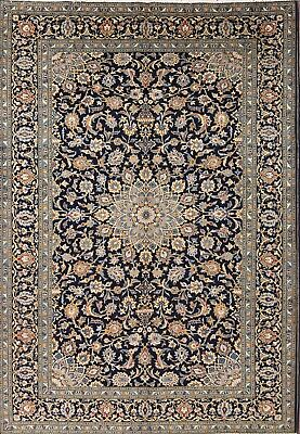 """Excellent Navy Blue Floral 8x11 Kashan Persian Oriental Area Rug 11' 5"""" x 7' 11"""""""