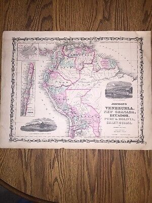 1852 Genuine Antique Hand Colored Map Venezuela, New Granda, S. America Johnson