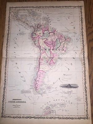 1852 Genuine Antique Hand Colored Map of South America By Johnson & Ward