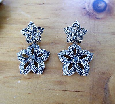 Long Floral Dangling JUDITH JACK Marcasite Sterling Pierced EARRINGS