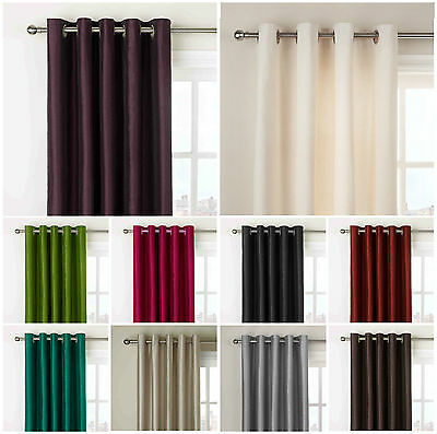 90 x 108 inch extra very long drop curtain faux silk fully lined eyelet eur 31 27. Black Bedroom Furniture Sets. Home Design Ideas