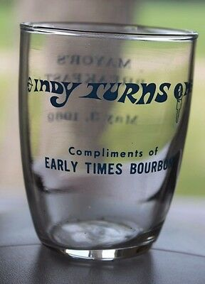1969 Indy 500 Turns On Early Times Bourbon Ad For Mayor Bar Glass Indiana Rare
