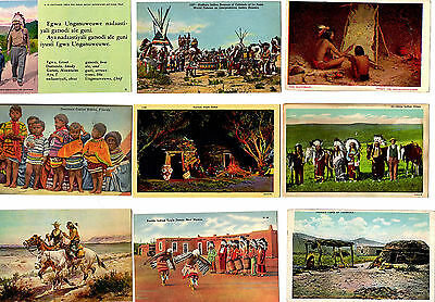 (9) Collectible Vintage Post Cards -AMERICAN INDIANS -unused 1906-'50s  (7-44