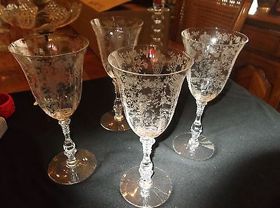 Cambridge Rosepoint Crystal 4 Water Glasses #3121