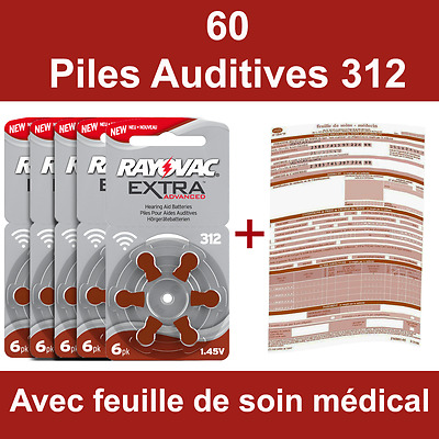 60 piles auditives Rayovac 312 / pile auditive PR41 / pile pour appareil auditif