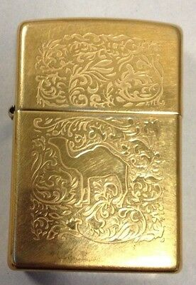 Gold Etched Camel Zippo Lighter
