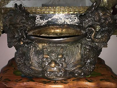 Vintage Antique Bronze Chinese Bowl Fu Foo Dragon Handles ORNATE Faces OLD!!!!