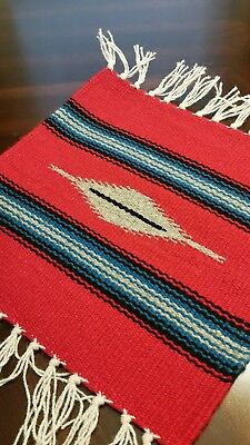 Chimayo 100% Wool Textile 10 X 10 Red and Gray Color  Weaving Made in New Mexico
