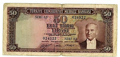 Turkey ... P-162 ... 50 Lira ... L.1930(1951) ... *F*.