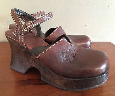 Vintage 90s MIA Wooden Brown Leather Platform Clogs Chunky Mary Jane Heels 8