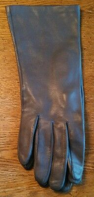 Vintage Beautiful Gray Cabretta Table Cut Gloves ~ Size Small