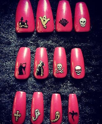 Hand Painted Gel False Nails Pink Ghosts Coffin Full Cover Tips Press On Nails