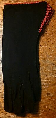 Vintage Beautiful Black With Red Trim Gloves ~ Size Small