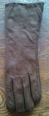 Vintage Beautiful Suede Tan Pile Lined Mario Papa & Sons Gloves ~ Size Medium