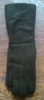 Vintage Beautiful Suede Green Pile Lined Gloves ~ Size Small