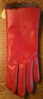 Vintage Beautiful Red Montgomery Ward Van Raalte Leather Gloves NWT ~ Size Small