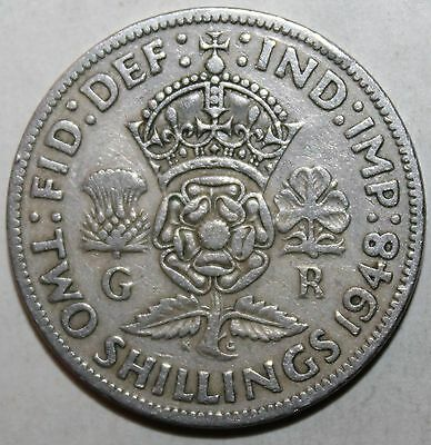 British Two Shillings (Florin) Coin, 1948 - KM# 865 - Britain George VI UK 2