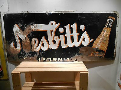 "Rusty Old Nesbitt's Orange Cola Large 58"" X 25"" Soda Tin Sign"