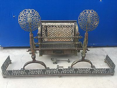 Antique Humphrey Radiantfire Iron & Brass Fireplace Heater Andirons Fence Set