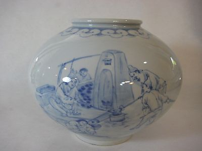 Korean Art Blue & White Genre Painting On Vase Heavy Ceramic Porcelain Vase